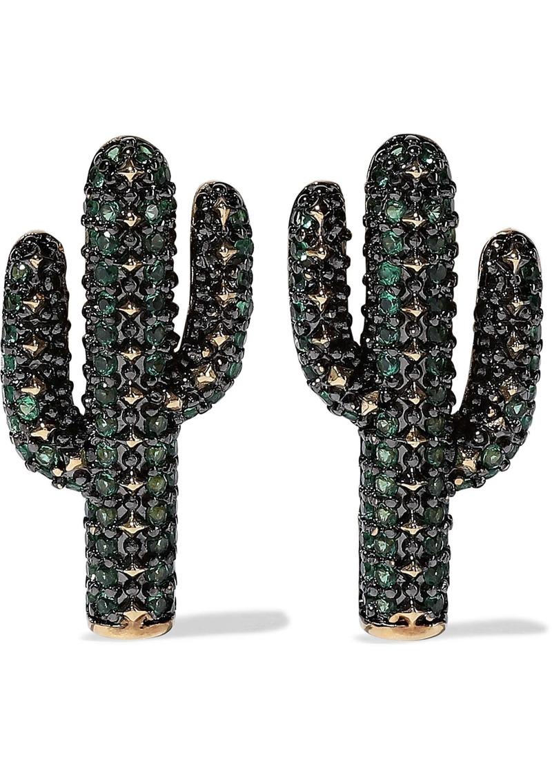 Noir Jewelry Woman 14-karat Gold-plated Crystal Earrings Gold