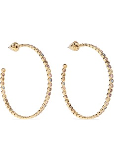 Noir Jewelry Woman 14-karat Gold-plated Crystal Hoop Earrings Gold