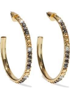 Noir Jewelry Woman 14-karat Gold-plated Crystal Hoop Earrings Multicolor