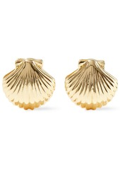 Noir Jewelry Woman Happy As A Clam 14-karat Gold-plated Clip Earrings Gold