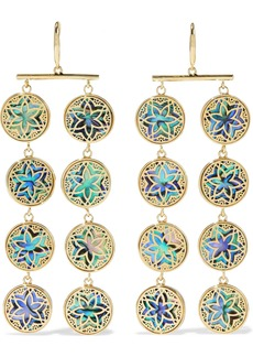 Noir Jewelry Woman 14-karat Gold-plated Iridescent Resin Earrings Gold