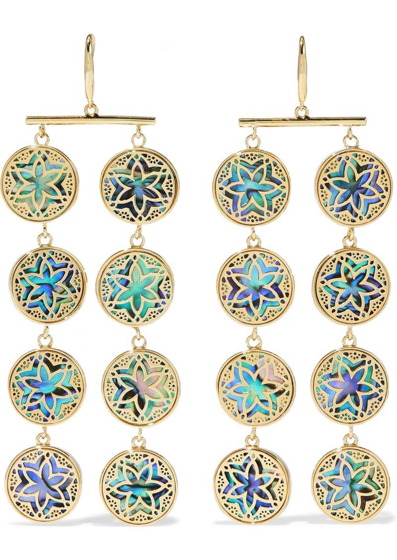 Noir Jewelry Woman 14-karat Gold-plated Iridescent Resin Earrings Gold