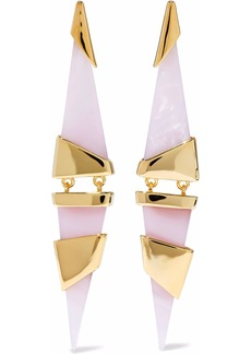 Noir Jewelry Woman 14-karat Gold-plated Resin Earrings Baby Pink