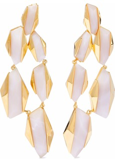 Noir Jewelry Woman 14-karat Gold-plated Resin Earrings Off-white