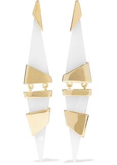 Noir Jewelry Woman 14-karat Gold-plated Resin Earrings Off-white