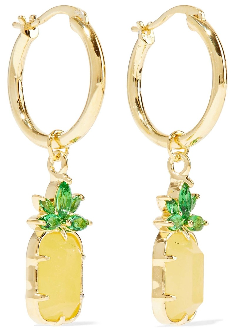 Noir Jewelry Woman 14-karat Gold-plated Stone And Crystal Hoop Earrings Gold