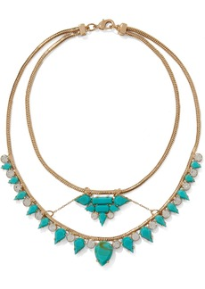 Noir Jewelry Woman 14-karat Gold-plated Stone And Crystal Necklace Turquoise