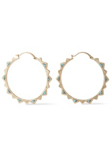 Noir Jewelry Woman 14-karat Gold-plated Stone Hoop Earrings Gold