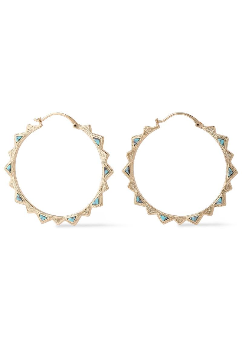 Noir Jewelry Woman 14-karat Gold-plated Stone Hoop Earrings Gold