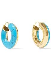 Noir Jewelry Woman 14-karat Gold-plated Stone Hoop Earrings Turquoise