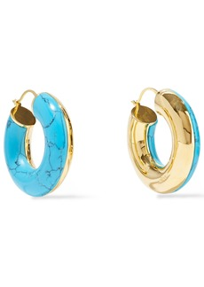 Noir Jewelry Woman 14-karat Gold-plated Stone Hoop Earrings Turquoise