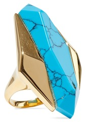 Noir Jewelry Woman 14-karat Gold-plated Stone Ring Turquoise