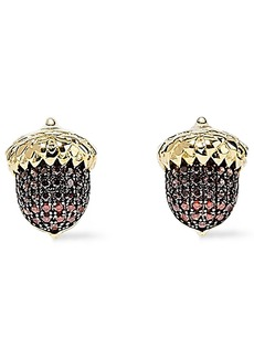 Noir Jewelry Woman Acorn 14-karat Gold-plated Crystal Earrings Gold