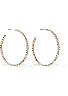 Noir Jewelry Woman Baria 14-karat Gold-plated Crystal Hoop Earrings Gold