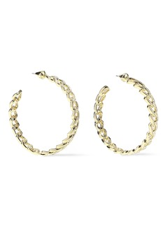 Noir Jewelry Woman Chain Gang Large 14-karat Gold-plated Crystal Hoop Earrings Gold