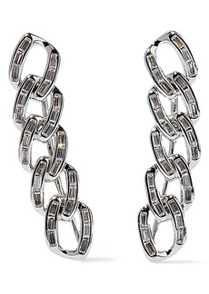 Noir Jewelry Woman Chain Gang Rhodium-plated Crystal Ear Cuffs Silver