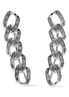 Noir Jewelry Woman Chain Gang Rhodium-plated Crystal Ear Cuffs Silver