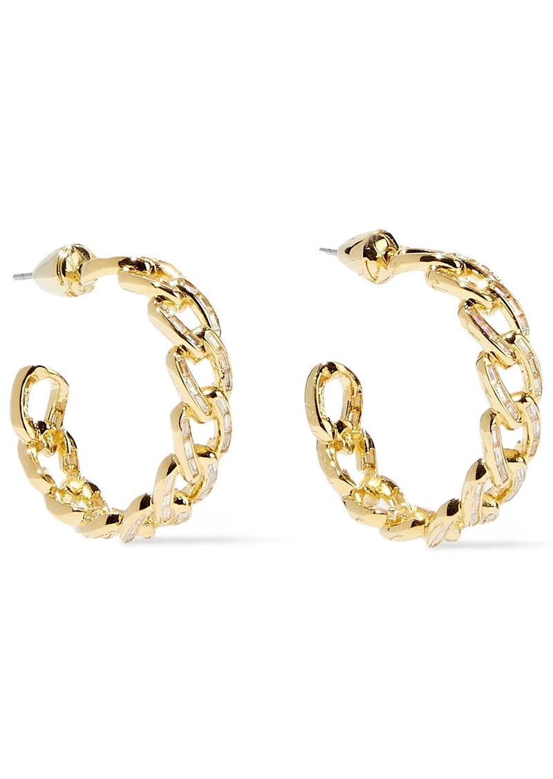 Noir Jewelry Woman Chain Gang Small Gold-plated Crystal Hoop Earrings Gold