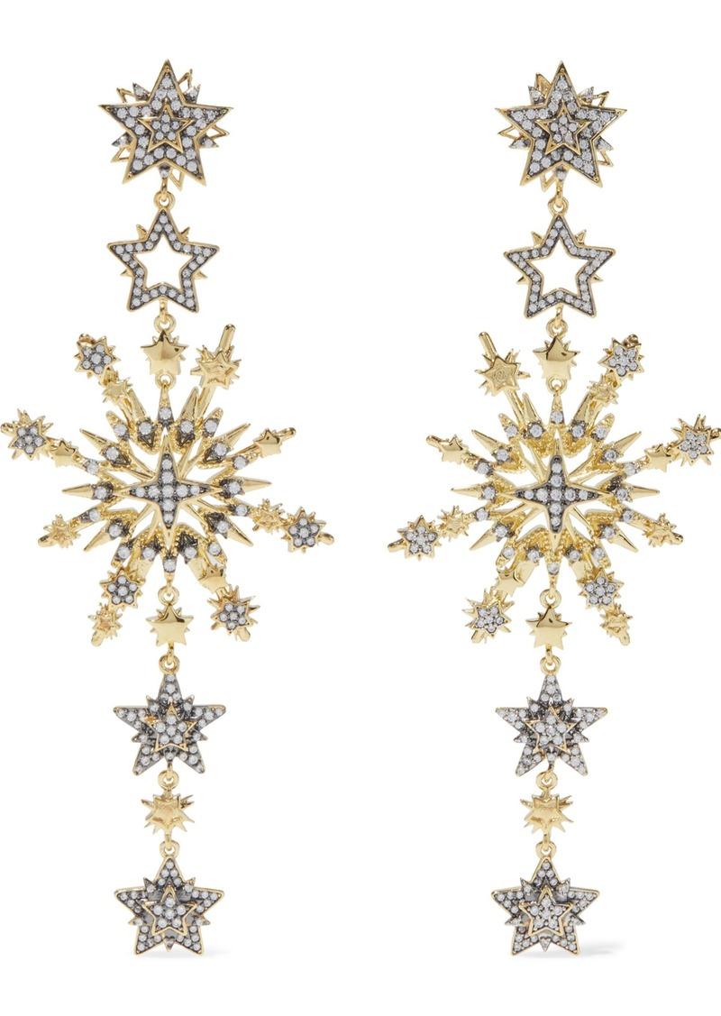 Noir Jewelry Woman Charmed 14-karat Gold-plated Crystal Earrings Gold