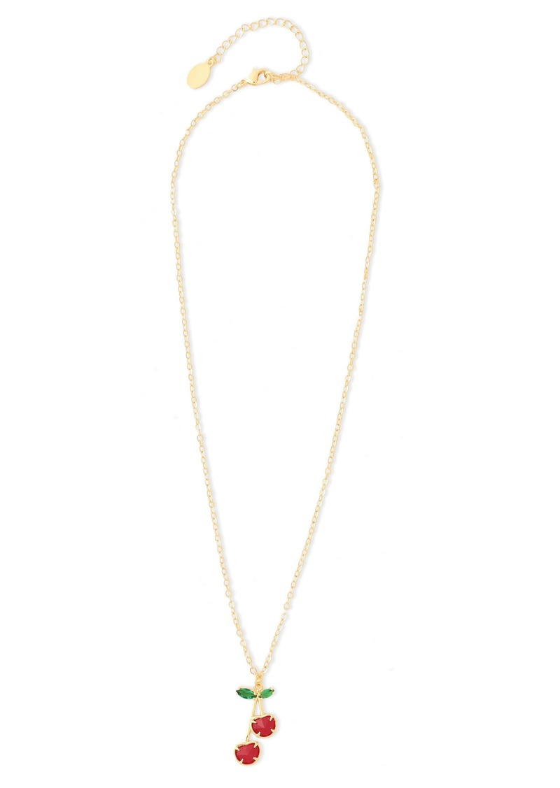 Noir Jewelry Woman Cherry 14-karat Gold-plated Crystal Necklace Gold