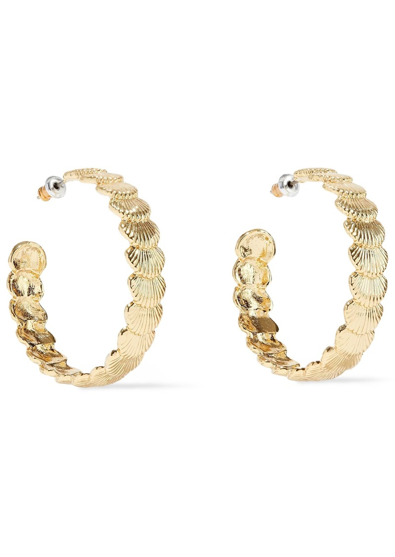 Noir Jewelry Woman Clam Up 14-karat Gold-plated Hoop Earrings Gold