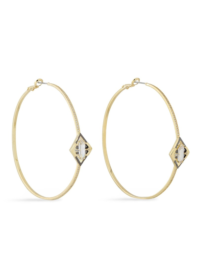 Noir Jewelry Woman Conquerer 14-karat Gold-plated Crystal Hoop Earrings Gold