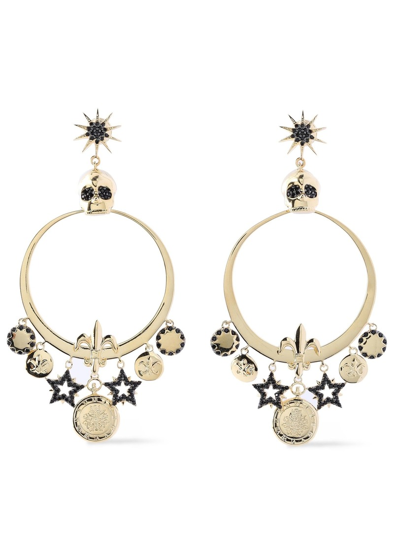 Noir Jewelry Woman Embossed Gold-tone Crystal Earrings Gold