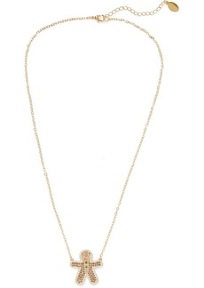 Noir Jewelry Woman Gingerbread Man 14-karat Gold-plated Crystal Necklace Gold