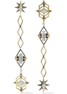 Noir Jewelry Woman Gold And Gunmetal-tone Crystal Earrings Gold
