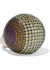Noir Jewelry Woman Gold-tone Crystal And Enamel Ring Gold