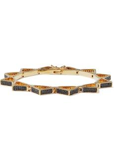 Noir Jewelry Woman 14-karat Gold-plated Crystal Bracelet Black