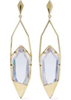 Noir Jewelry Woman Gold-tone Crystal Earrings Clear