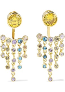 Noir Jewelry Woman 14-karat Gold-plated Crystal Earrings Gold