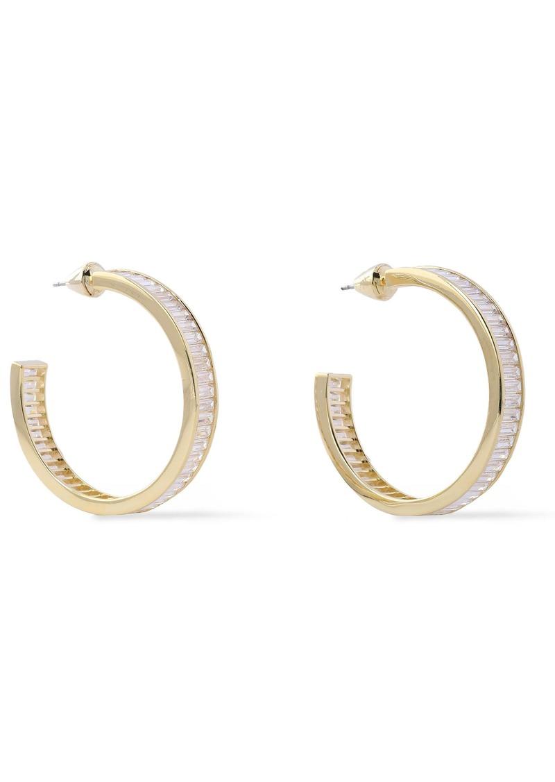 Noir Jewelry Woman 14-karat Gold-plated Crystal Hoop Earrings Gold