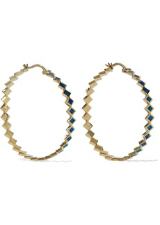 Noir Jewelry Woman 14-karat Gold-plated Resin Hoop Earrings Blue