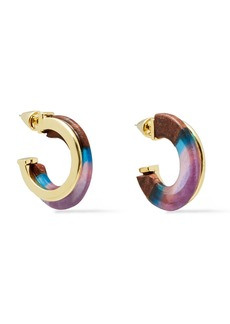 Noir Jewelry Woman Gold-tone Wood And Resin Earrings Light Brown