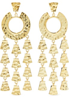 Noir Jewelry Woman Hammered Gold-tone Earrings Gold
