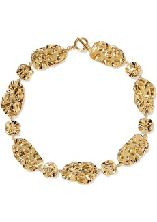 Noir Jewelry Woman Hammered Gold-tone Necklace Gold