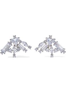 Noir Jewelry Woman Gunmetal-tone Crystal Earrings Silver