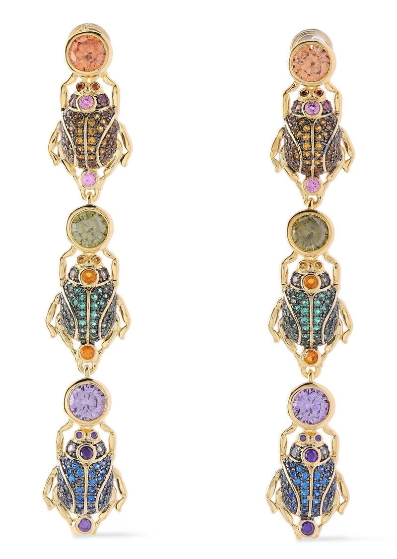 Noir Jewelry Woman Linked Beetle 14-karat Gold-plated Crystal Earrings Gold