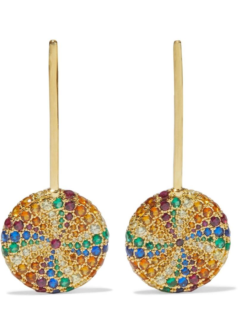 Noir Jewelry Woman Lollipop 14-karat Gold-plated Crystal Earrings Gold