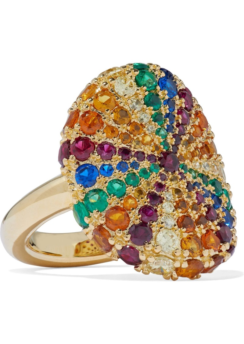 Noir Jewelry Woman Lollipop 14-karat Gold-plated Crystal Ring Gold