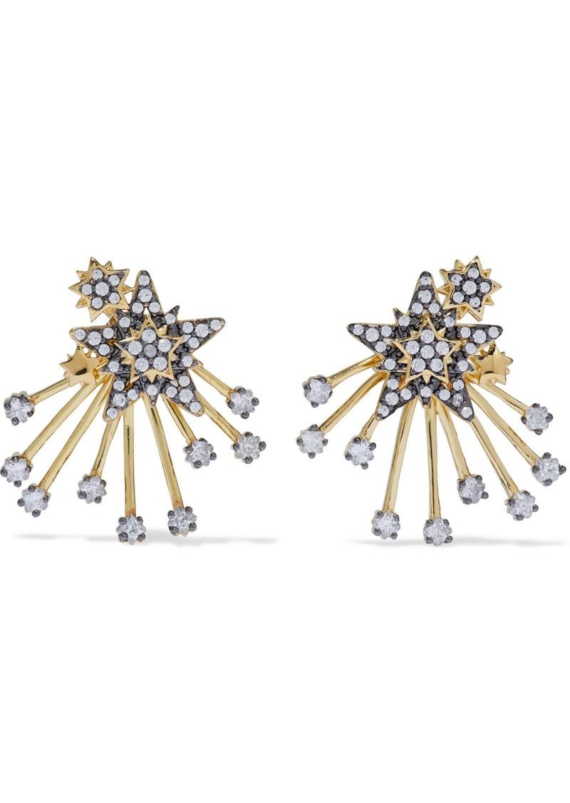 Noir Jewelry Woman Mesmerized 14-karat Gold-plated Crystal Earrings Gold