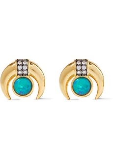 Noir Jewelry Woman 14-karat Gold-plated Stone And Crystal Earrings Gold