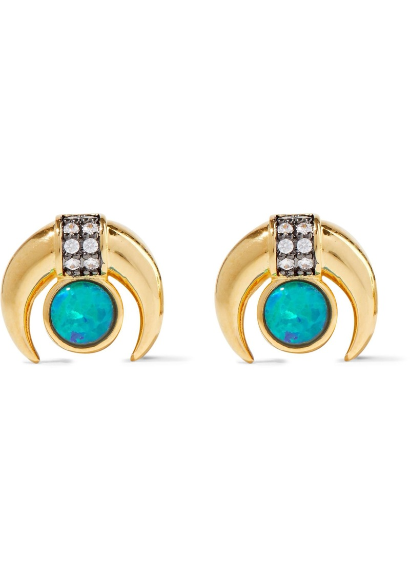 Noir Jewelry Woman Moon 14-karat Gold-plated Stone And Crystal Earrings Gold