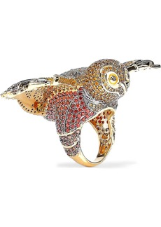 Noir Jewelry Woman Night Owl 14-karat Gold-plated Crystal Ring Gold