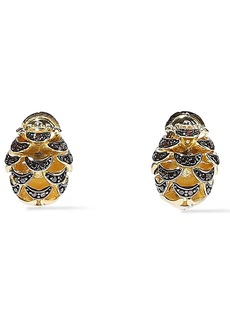 Noir Jewelry Woman Pinecone 14-karat Gold-plated Crystal Earrings Gold
