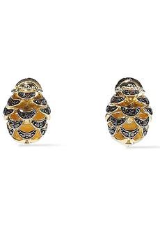 Noir Jewelry Woman Pinecone 14-karat Gold-plated Crystal Earrings Gold