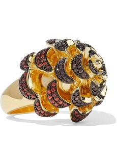 Noir Jewelry Woman Pinecone 14-karat Gold-plated Crystal Ring Gold