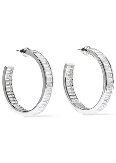 Noir Jewelry Woman Rangées Rhodium-plated Crystal Hoop Earrings Silver